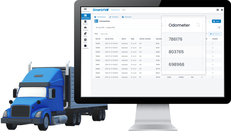 SmartFill website recording the odometer of a truck using telematics