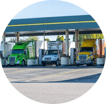 Trucks refueling at a truck stop